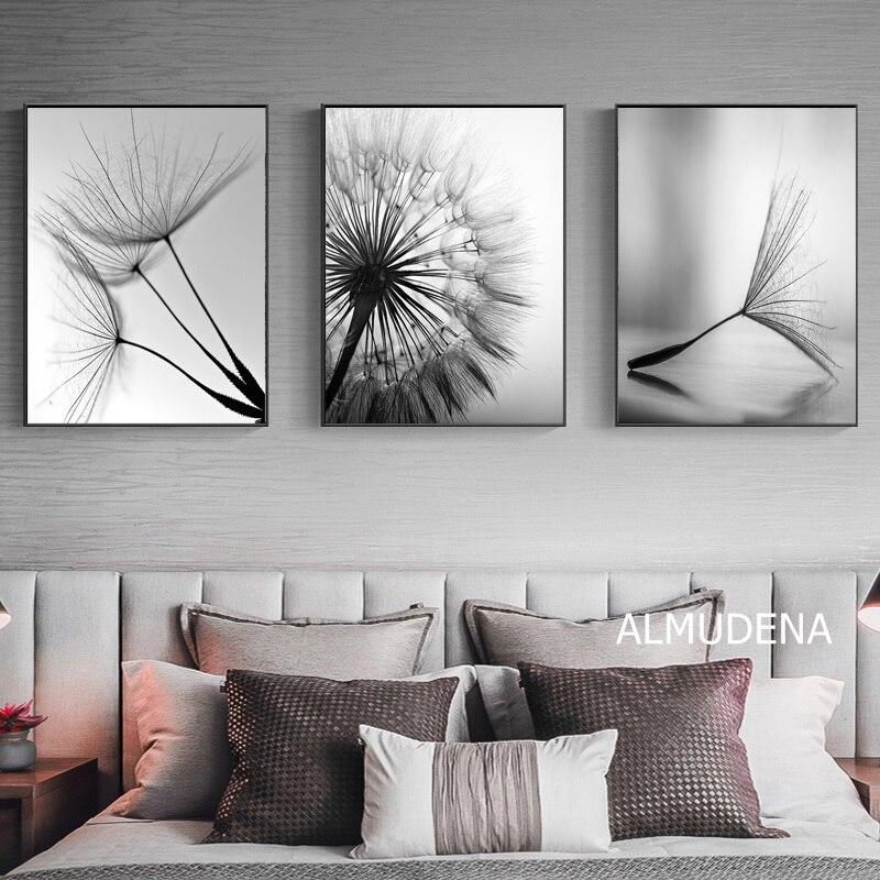 タンポポの花キャンバスの絵画、現代黒、白アート装飾のための画像リビングルーム抽象壁ポスターなしフレーム