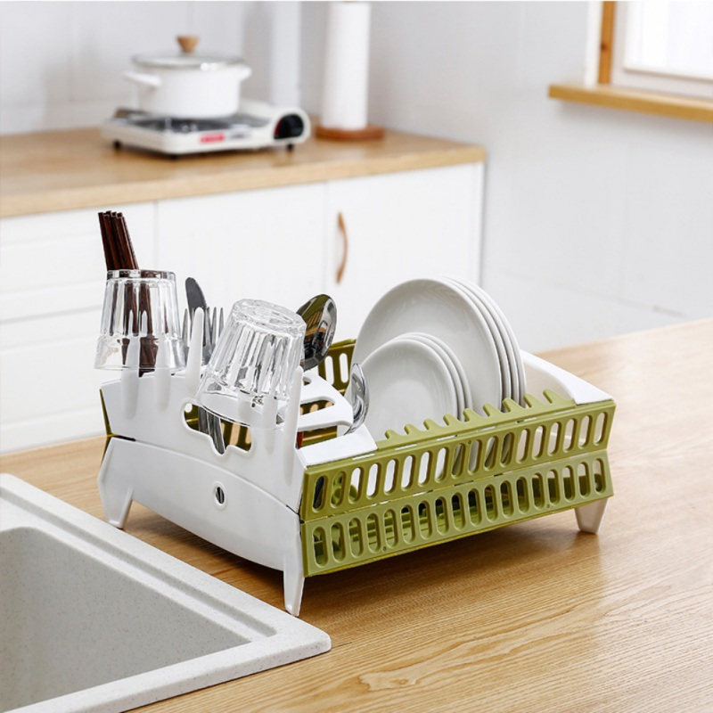 Kitchen Folding Drain Bowl Rack Plastic Quick Drying Cutlery Rack  Household Tableware Storage Rack Kitchen Portable Tools|Racks & Holders| |  - title=