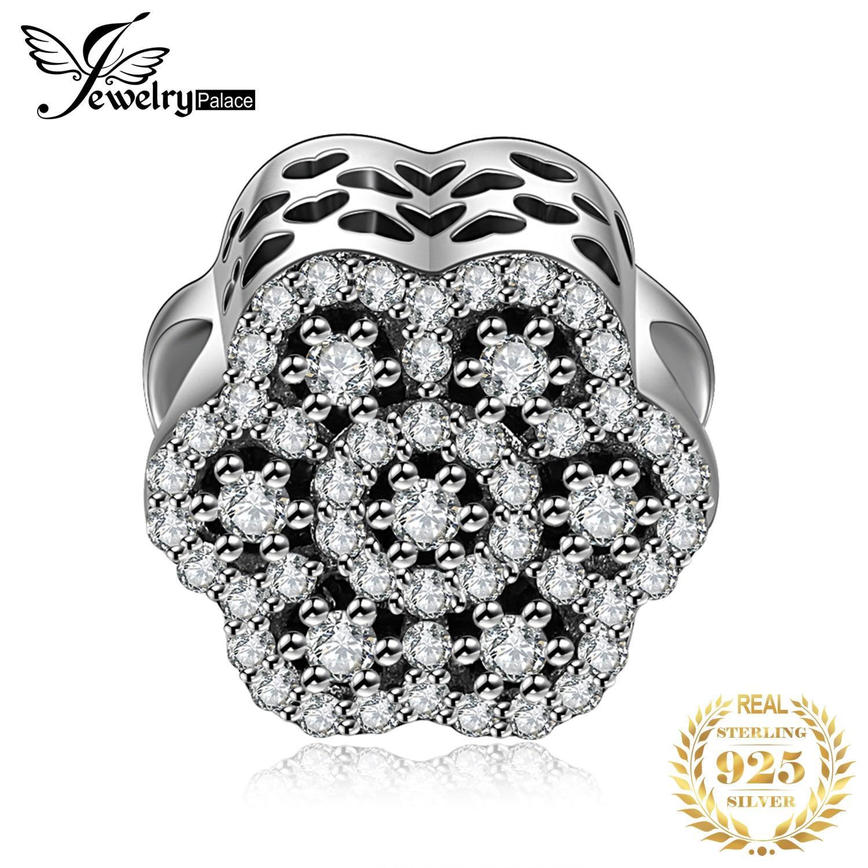 Jewelrypalace 925 prata esterlina contas de flores a céu aberto encantos ajuste pulseiras presentes para presentes de aniversário da mulher moda jóias