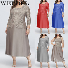 WEPBEL Women Plus Size Dress Lace Fashion Casual New Chiffon Full Sleeve Sexy Lo