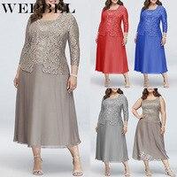 WEPBEL Women Plus Size Dress Lace Fashion Casual New Chiffon Full Sleeve Sexy Loose Ladies Long Maxi Dresses