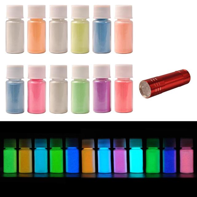 Biutee 12Colors Glow in dark pigment powder with UV Lamp Neon Colour Paint Fluorescent Powder Epoxy Resin Luminous 20g/Bottle