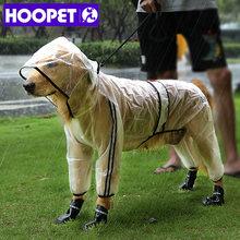 Chubasquero para mascotas HOOPET, impermeable transparente con capucha de cuatro pies para cachorros, ropa para la lluvia para perros, ropa para animales