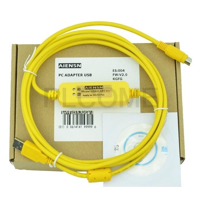 USB-DVP + USBACAB230 מבודד תכנות כבל FT232 שבב לדלתא DVP סדרת PLC תמיכה WIN7 Win10