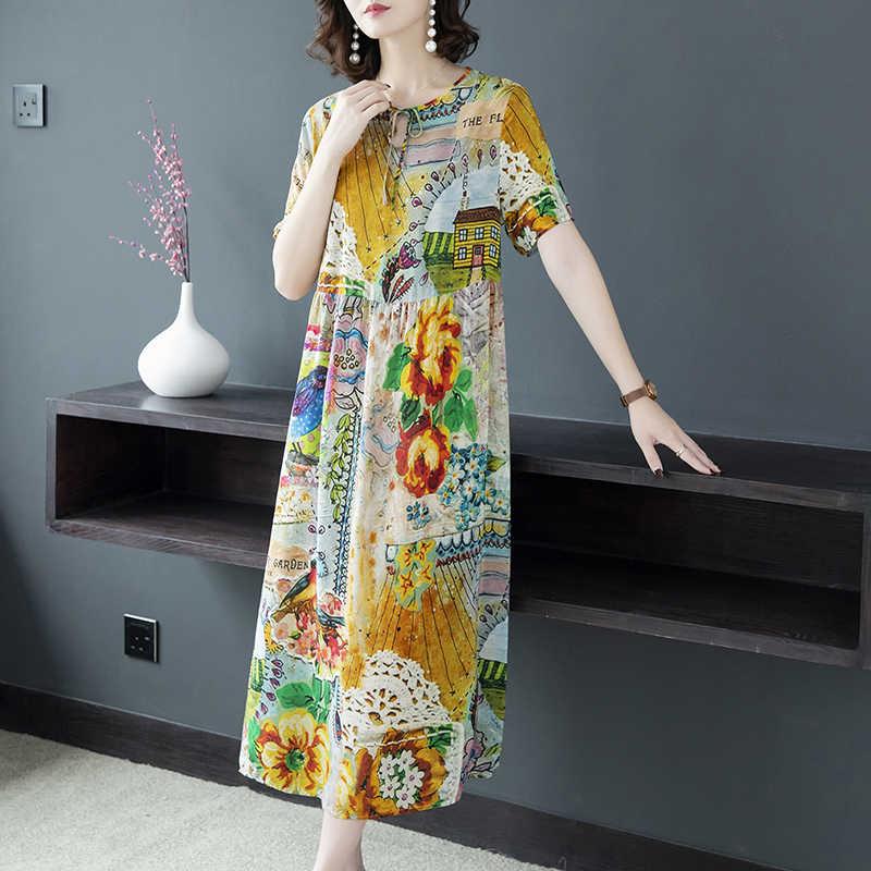 Verão vestido de seda feminino floral elegante praia vestido casual boho vestidos de festa vestidos tamanhos grandes mujer e86054 kj3953