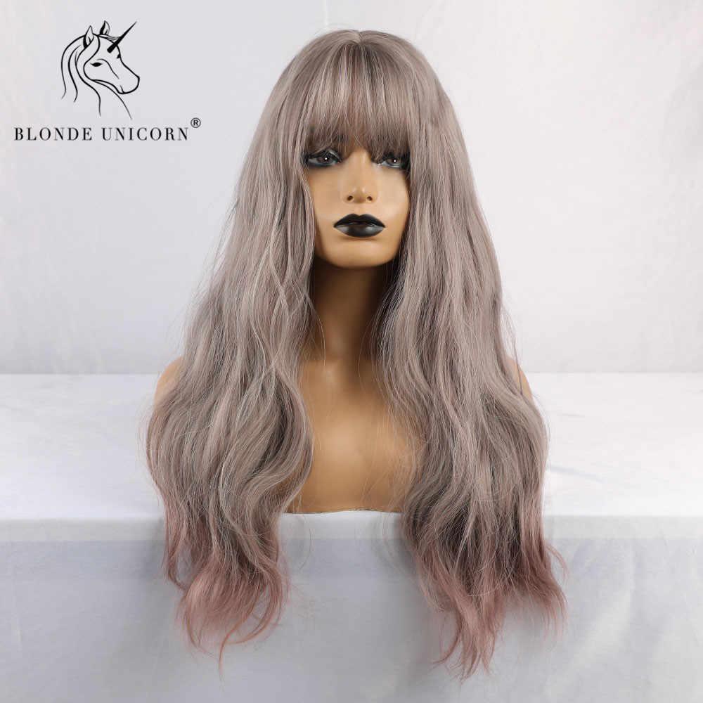 Blonde Eenhoorn Synthetische Light Grey Ombre Paars Womens Pruiken Met Pony Water Wave Hittebestendige Pruiken Voor Afro-amerikaanse