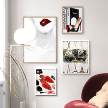 Makeups Lipstick Heels Handbag Fashion Wall Art Canvas Painting Nordic Posters And Prints Pictures For Living Room Decor