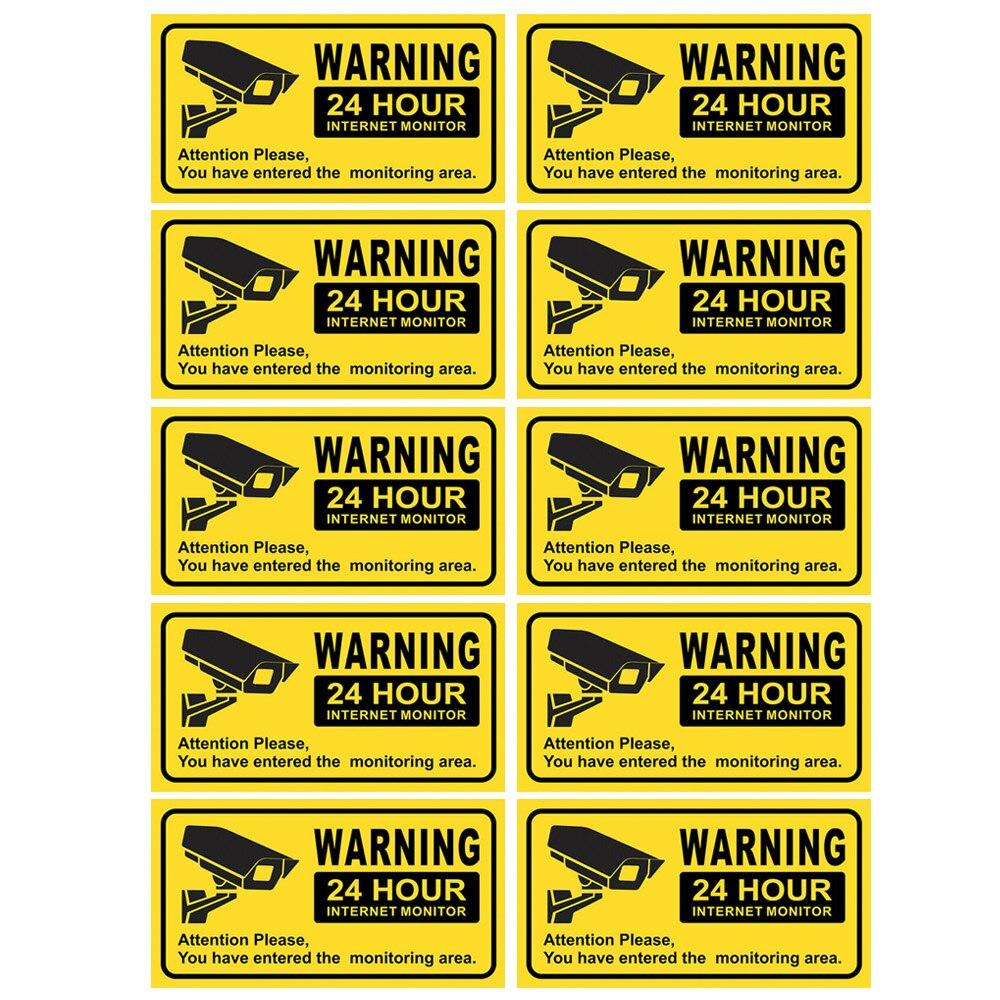 Водонепроницаемые наклейки для видеонаблюдения, 10 шт., предупреждающие наклейки для дома, офиса, школы, магазина