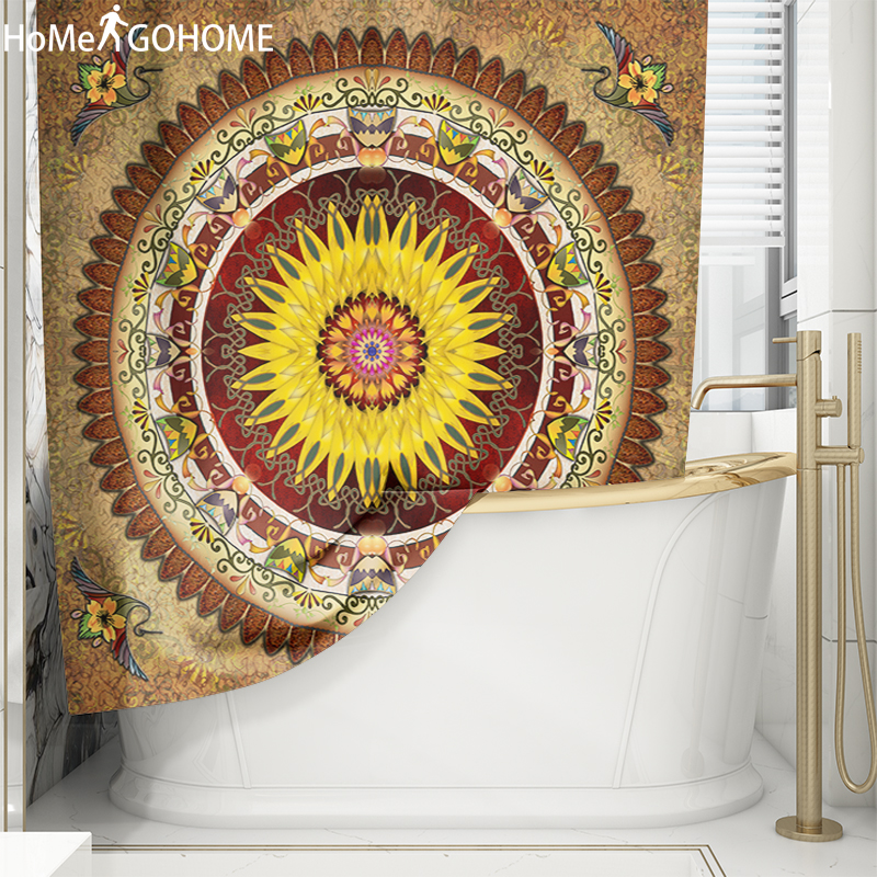 Bohemian Flower Mandala Shower Curtains for Bathroom Polyester Fabric Waterproof Curtain Vintage Bathroom Scenic Shower Curtains in Shower Curtains from Home Garden