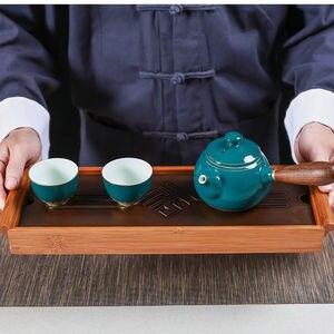 Image 2 - [GRANDNESS] オリジナル竹茶トレイ黒卓上中国 Gongfu 茶サービング竹テーブル水ドリップトレイ 39*13 センチメートル