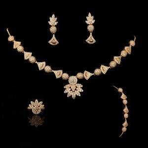 Image 4 - תכשיטי קולר סט HADIYANA פרח צורת נשים חתונה מסיבת שרשרת עגילי טבעת וצמיד סט זירקון CNY0088 Bisuteria