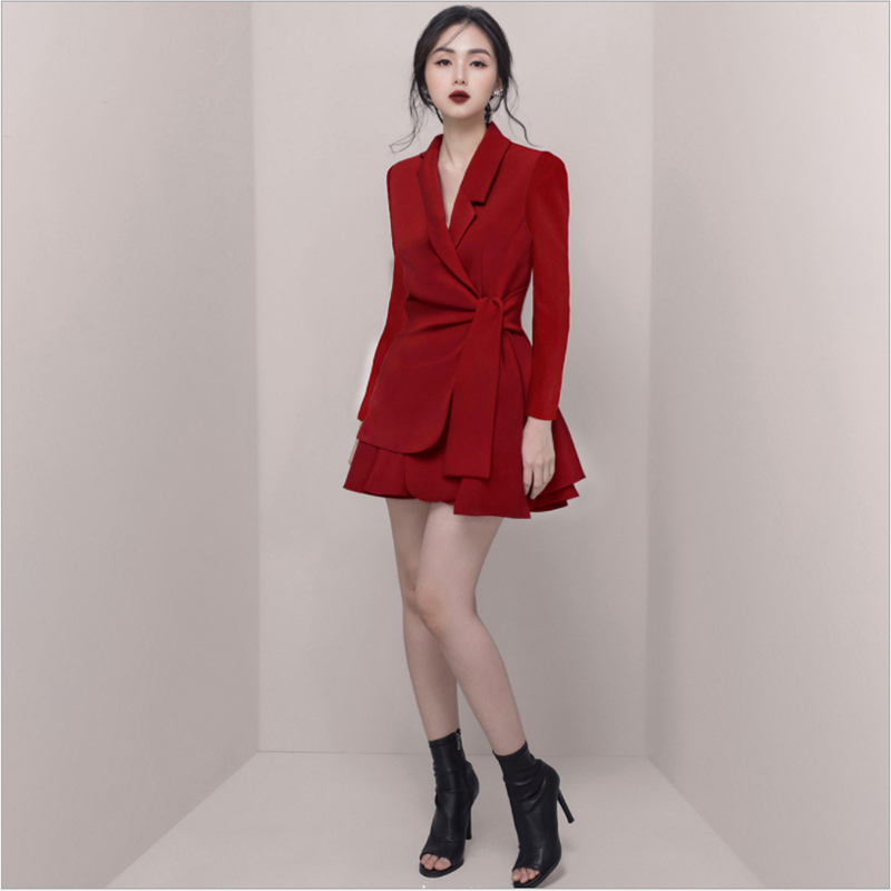 Autumn Notched Solid Casual Office Blazer Skirt Women Two Piece Sets Work Suits Dress 2