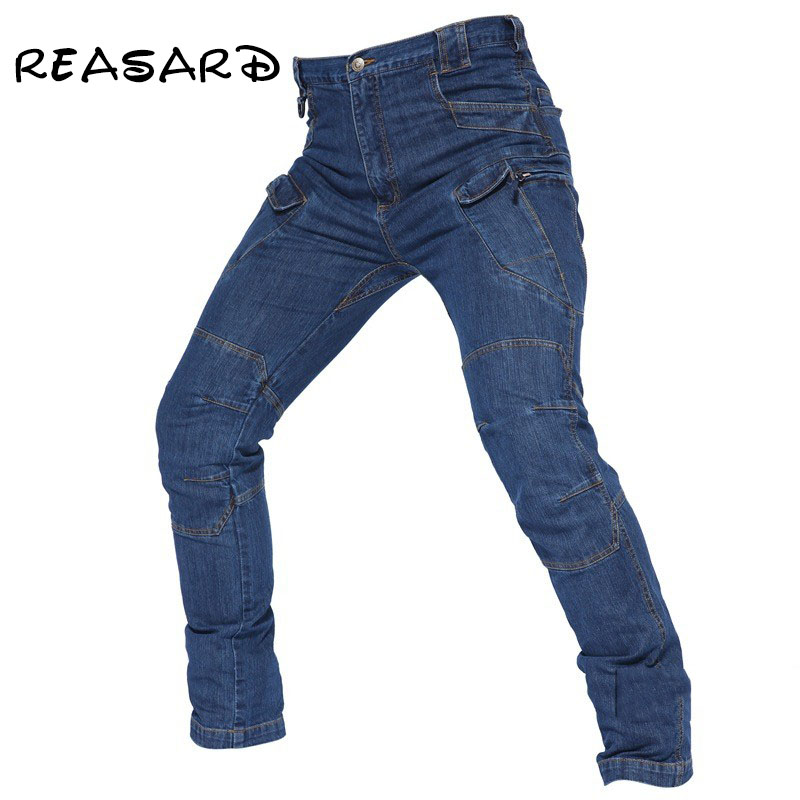 2019 New Arriving Men Tactical Denim Pants Stretchy Jeans Trousers Comfortable Full Length Multi Pockets Commuter Men Leggings