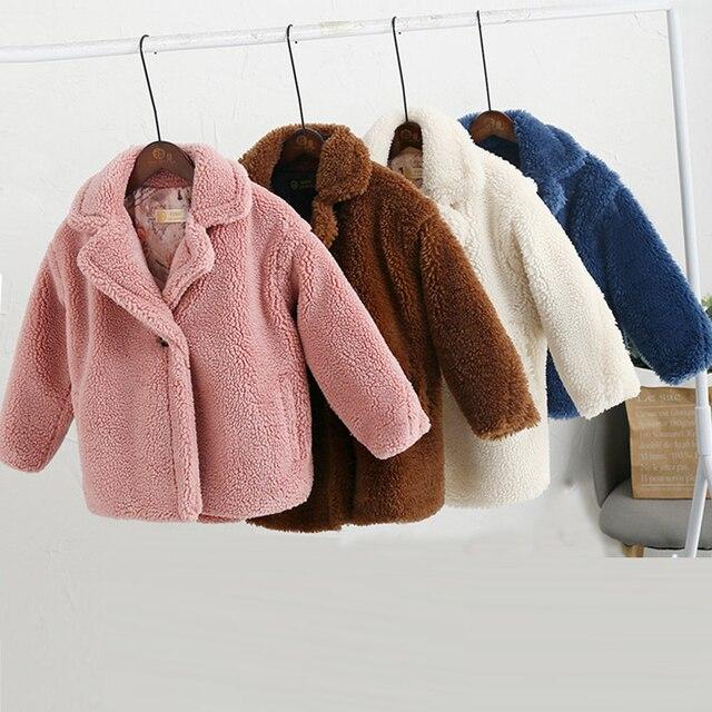 Abrigo de piel sintética para niños de 3 a 12 años, oso de peluche bebé, chaqueta gruesa cálida, abrigo largo para niñas, ropa para niños, prendas de vestir informales