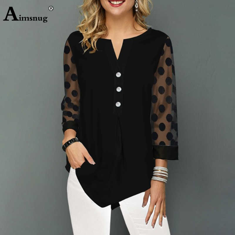 Aimsnug Plus Size 4xl 5xl Solid Black Tops V-neck Button splice Mesh Nine Points Sleeve Autumn New Casual Loose Women T-shirt