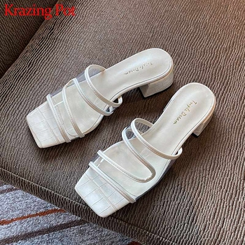 Krazing pot 2020 summer PVC material natural leather jelly shoes peep toe med superstar quality heels slip on mules sandals L87