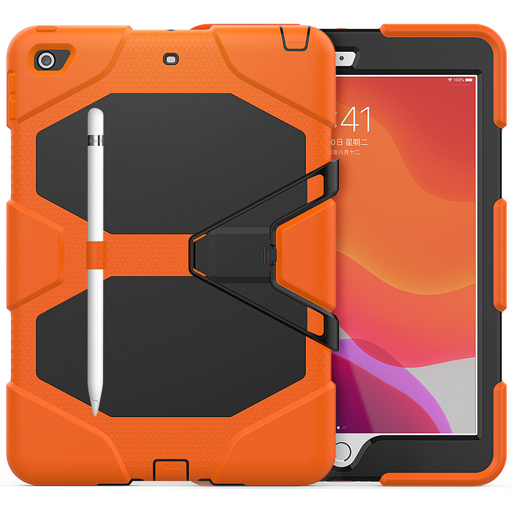 orange Orange For iPad 10 2 Case Heavy Duty PC Silicone Rugged Armor Kids Shockproof Kickstand Case for