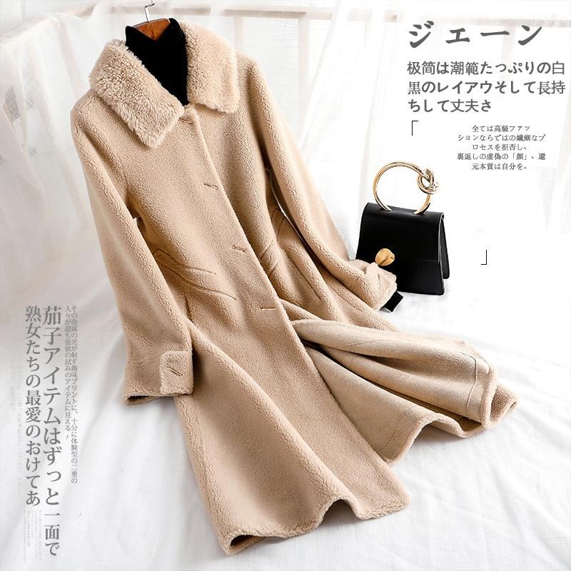 Autumn Winter Coat Women Clothes 2020 Real Fur Coat Women Korean Vintage Sheep Shearling Wool Jacket 11DU-901-1102 YY1721