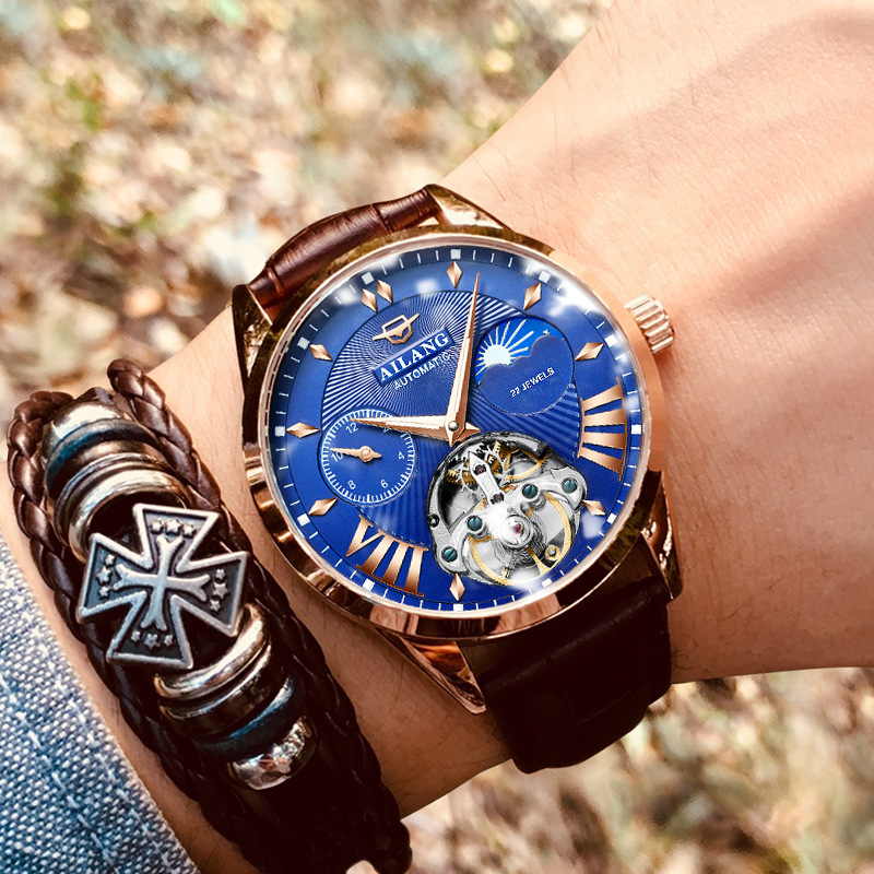 Luxus Mechanische Getriebe Uhr Männer geschenk Japan Bewegung Automatische schwarz selbst wickler Sapphire Uhr Marke Männer Metall Lünette - 4
