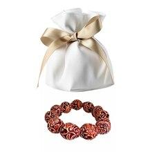 """Белый шнурок застежка мешочки Свадебная вечеринка конфеты Ювелирные изделия Подарки монета упаковка и 18 мм цветок резьба бусины """"Бамбук"""" браслет"""