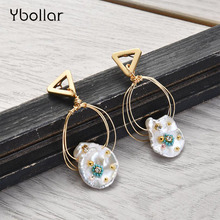 Ybollar 1 Pair Pearl Earrings Original Design Gold Triangle Circle Handmade Drop Earrings Baroque For Women Jewelry Gift
