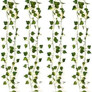 2 м/20 светодиодный искусственные растения гирлянды светильник с изображением зеленых листьев и плющ Фея светильник строка кленовые листья гирлянда вечерние Спальня украшения