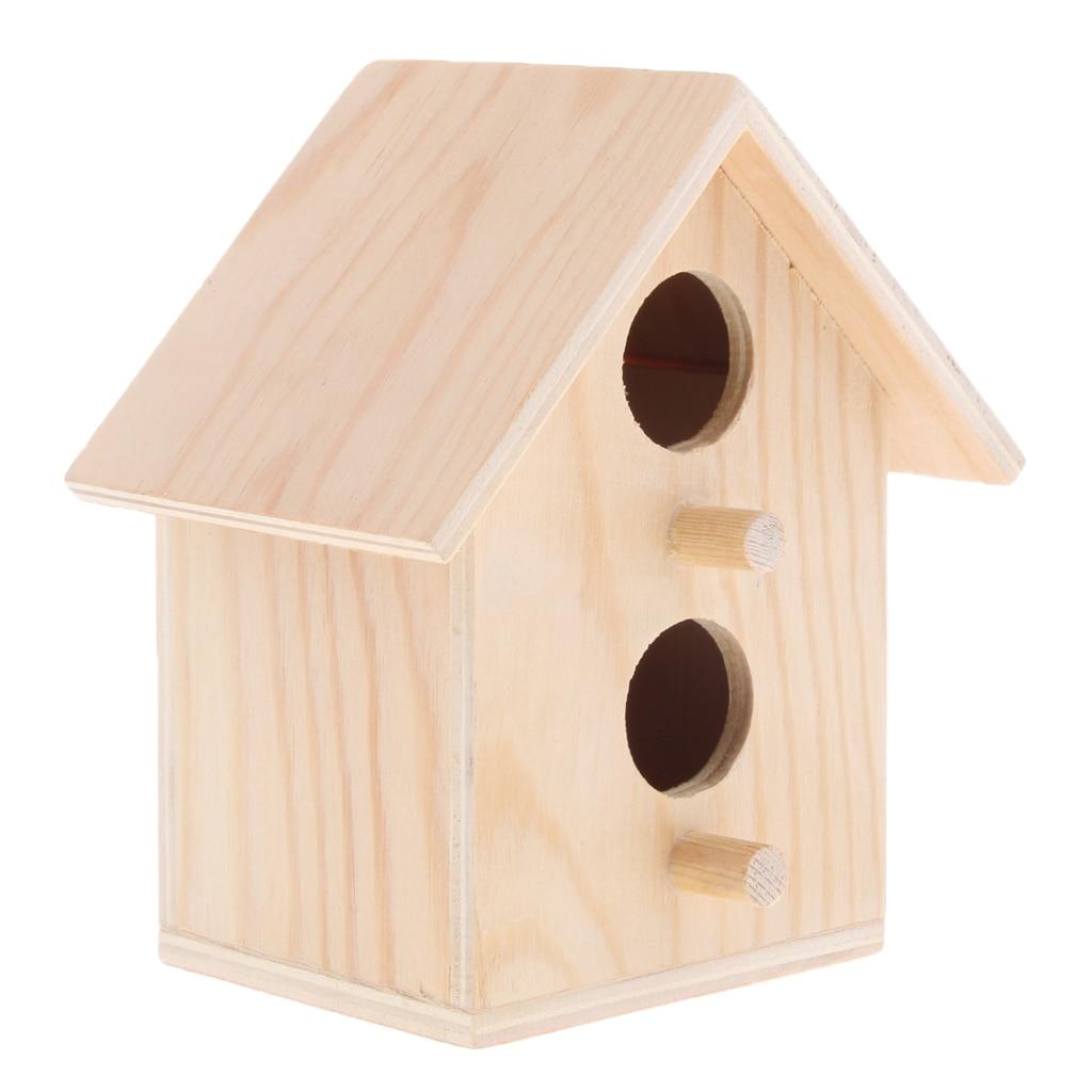 Birdhouse – Cage Rough Wood Perch Hut – Wooden Cabin Birdhouse for Birds