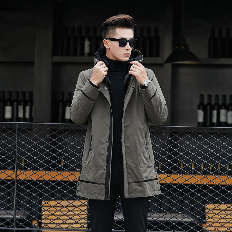 Winter Jacket Men Parka Real Fur Coat Men Natural Rabbit Fur Liner Warm Jackets Parkas Hombre 81P82030 YY310