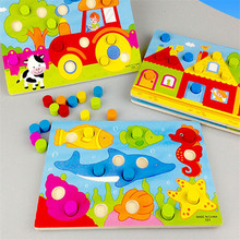 Baby puzzle early education toy color shape classification hand scratch board wooden jigsaw piece