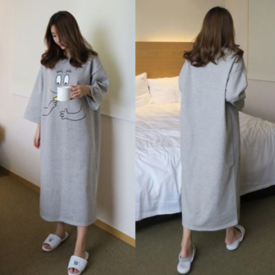 Long Sleeve Nightgown Women's Autumn And Winter Gray Hand M-XXL Qmilch Double-Sided Thick Long Sleeve Pajamas Women's