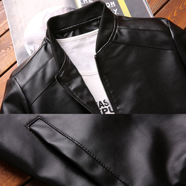 Thoshine Brand Spring Autumn Men Leather Jackets Classic Slim Fit Male PU Leather Coats Motorcycle Biker Streetwear Smart Casual 5