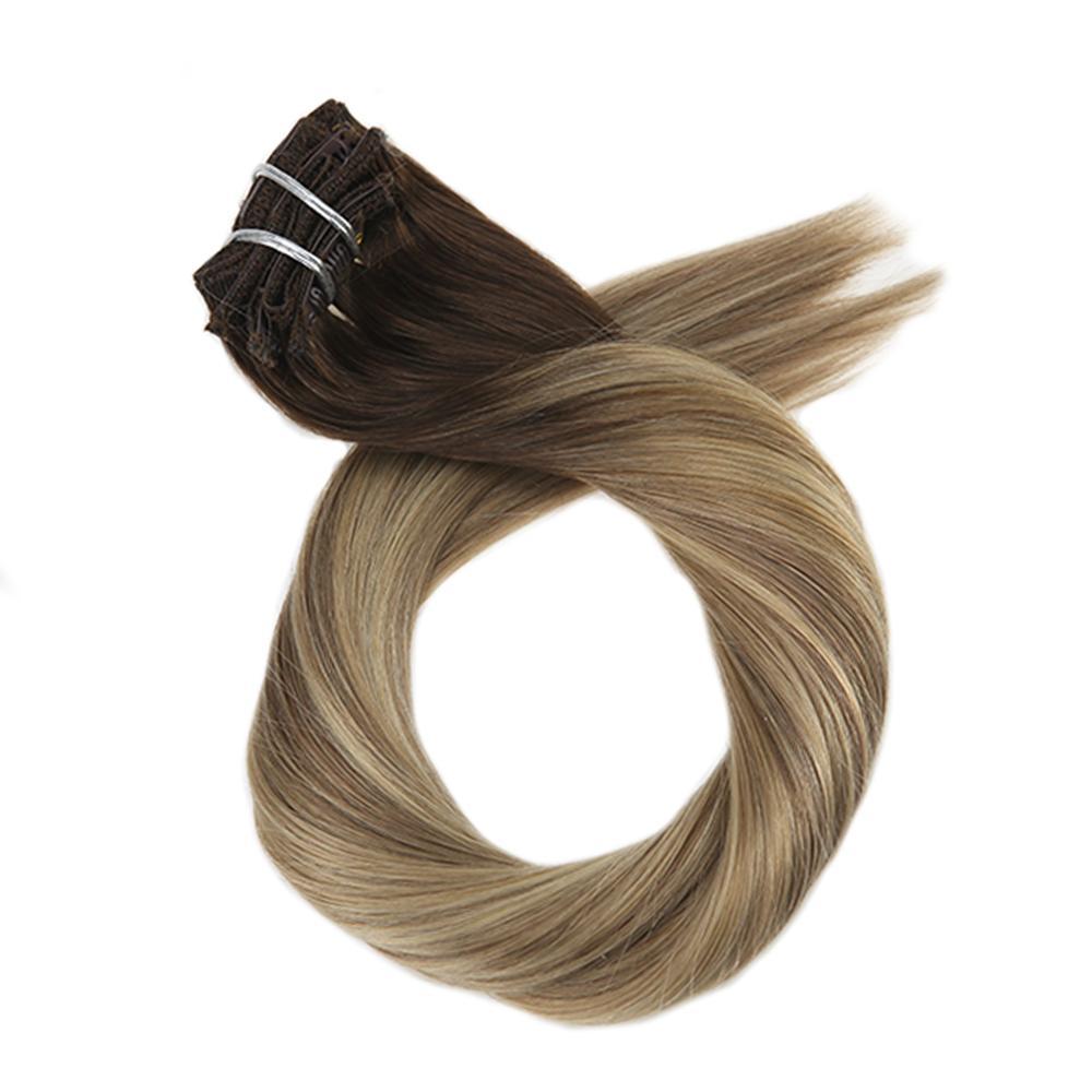 Moresoo 16-24 Inch Clip In Hair Extensions Machine Remy Human Hair Brazilian Hair Clip Ins Full Head Set Straight Hair 7Pcs 100G