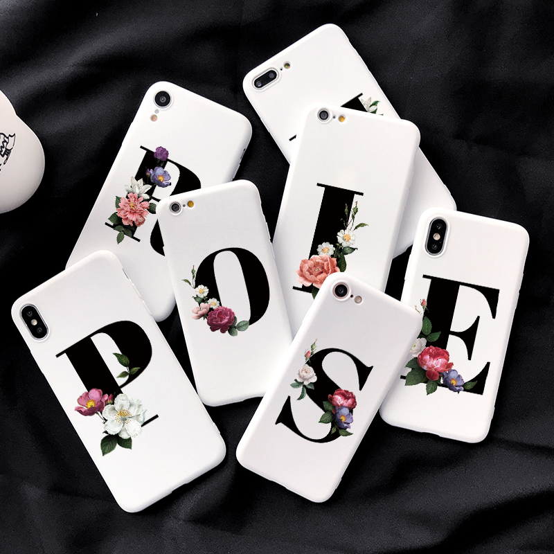 Custom Floral Letter Case For Xiaomi Redmi K30 K20 Pro Phone Case For Xiaomi Redmi Note 9 Pro Max 8 7 6 5 Pro 8T Back Cover Capa image