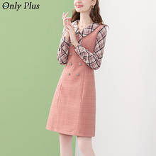 Winter Dresses Tweed Patchwork Vestidos Party Plaid Only-Plus A-Line Button Collar Peter-Pan