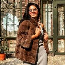 Luxury Woman Real Mink Fur Coats Stand Collar 2021 Winter Fashion Natural Women Fur Coat Full Pelt Mink Fur Jacket Coffee Color