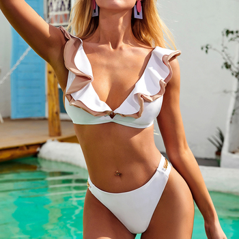 Sexy Ruffle Bikini Mujer Swimsuit Woman High Leg Swimwear Women 2020 Micro Bikini Set Beachwear Swimming Wear for Bathing Suit 1