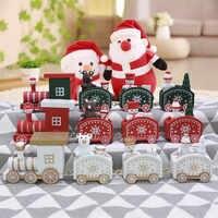 Mini lindo tren de Navidad madera decoración de Navidad para el hogar con Santa oso Navidad chico juguetes regalo ornamento Navidad Año Nuevo regalos