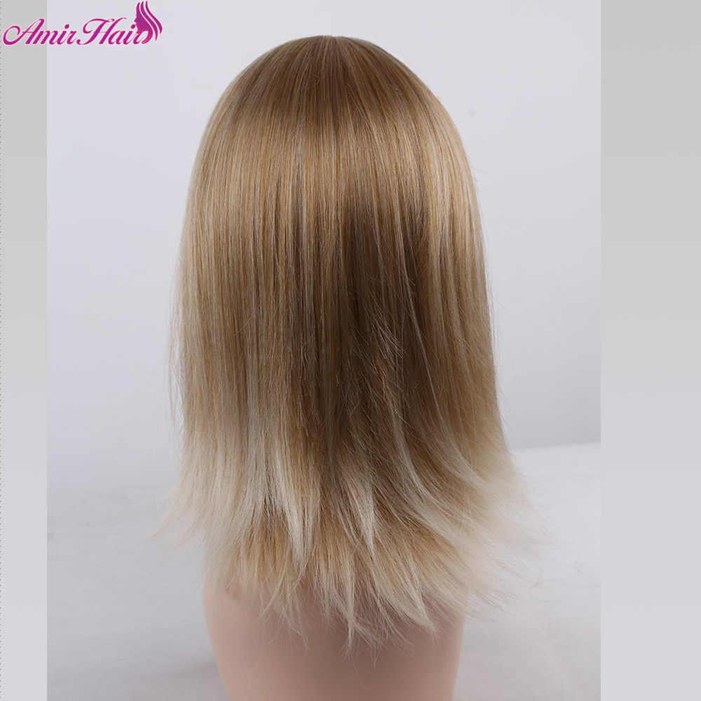 Amir Средний синтетический парик с аккуратной челкой Омбре блонд белый цвет термостойкие волосы парики для женщин Косплей Повседневные Вечерние волосы
