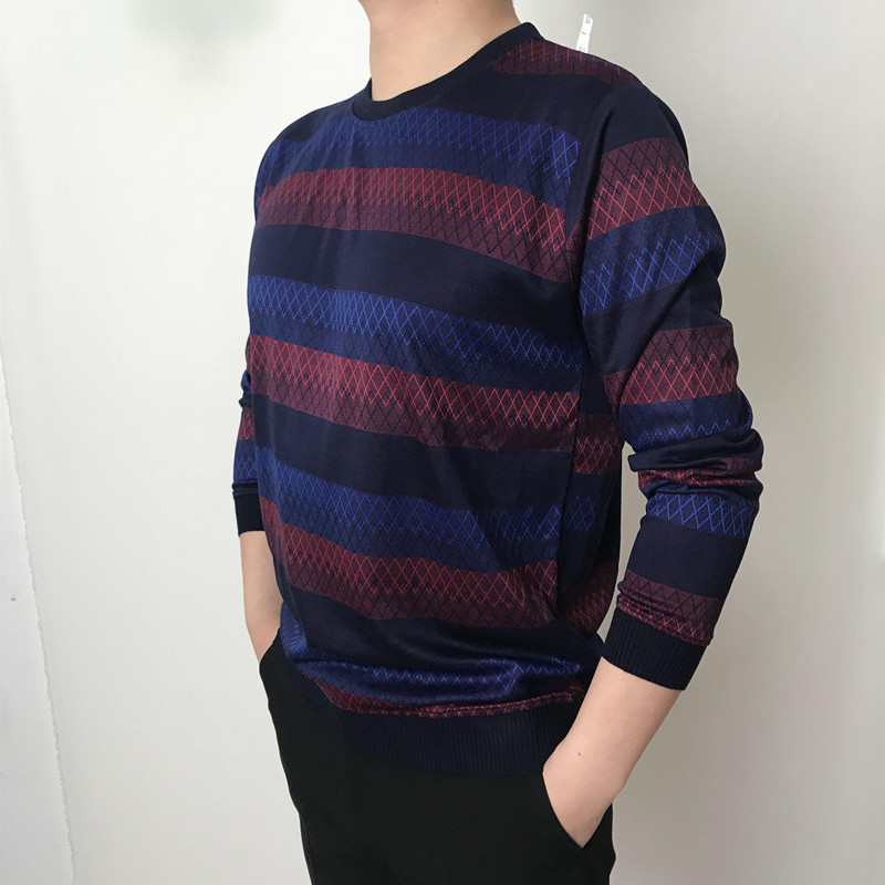 Winter Sweater Men Clothes 2020 Korean Fashion Casual Slim Knitted Mens Sweaters Autumn Fit Striped Pullover Hombre LW315