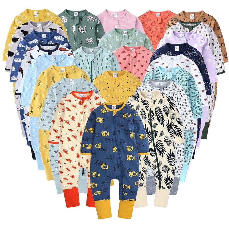 Комбинезон для новорожденных мальчиков и девочек; Хлопковый комбинезон с длинными рукавами и рисунком; Одежда для младенцев; Пижама; Одежда...
