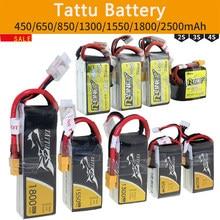 Литий-полимерный аккумулятор Tattu пакет 1S 2 3S 4S 220 450 650 850 1300 1550 1800 2500 мА/ч, 45C 75C 95C XT30 XT60 разъем для Радиоуправляемый гоночный Дрон с видом от перв...