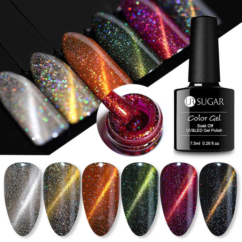 Ur Suiker 7.5 Ml Holografische Cat Eye Gel Nagellak Glitter Laser Nagels Magnetic Soak Off Uv Led Gel Vernis nail Art Lak Diy