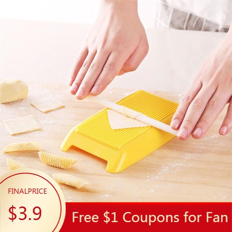 Spaghetti Macaroni Pasta Board Baby Food Supplement Gnocchi Making Plastic Mold Kitchen Tool Panel Rolling Pin Cutting Board(China)
