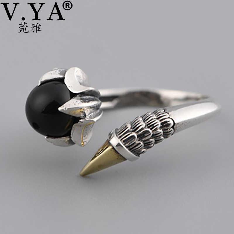 V. יה כסף נשים פאנק רוק טופר טבעות גבר גותי Biker תכשיטי S925 סטרלינג כסף טופר אצבע טבעת עם שחור זירקון