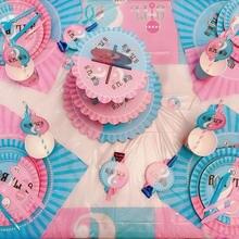 Vaisselle jetable de fête pour garçon ou fille, assiettes, tasses, bannières, cuillère en paille, fournitures de décoration de fête