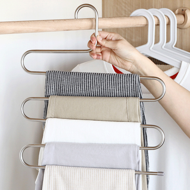 New Multi Layers Pants Hangers S-Shape Closet Storage Space Saving For Trousers Home Room SF66
