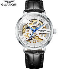 GUANQIN Skeleton Watch Men Automatic Mechanical Movement Top Brand Luxury Clock Waterproof Fashion Business Watches men casima automatic mechanical watches men business dress classical charm men s watch waterproof quartz movement 100m 8804