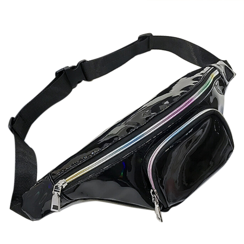 New Punk Lady Girl Rainbow Pvc Transparent Fanny Pack Women Bum Bag Belt Bag(Black)