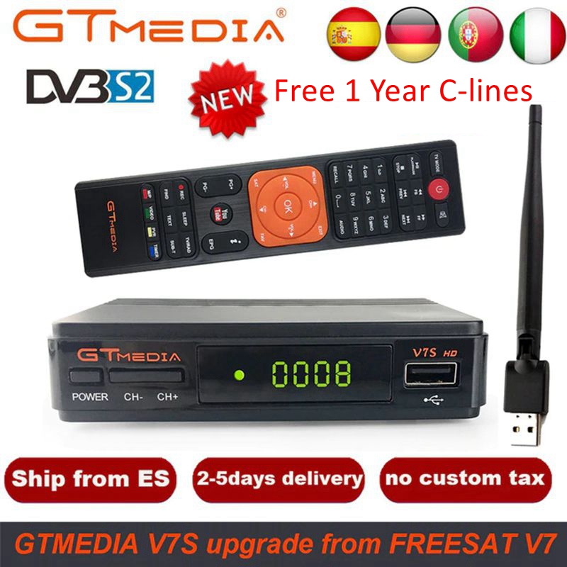 GTMedia V7S HD Satellite Receiver DVB-S2 V7S HD Full 1080P+USB WIFI + 1 Year C Lines Upgrade Freesat V7 HD Receptor Sat TV Box