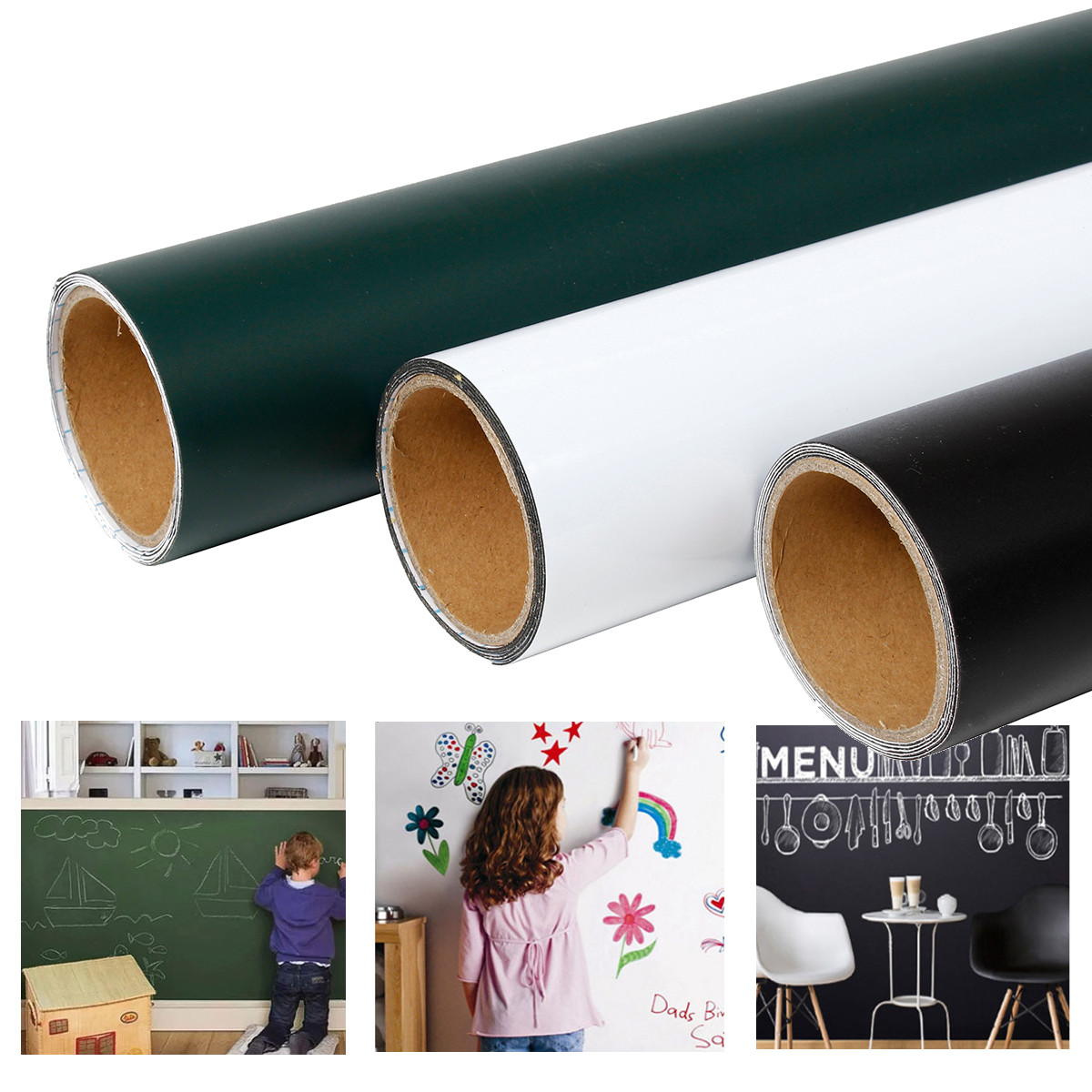 Soft Magnetic Self-adhesive Blackboard Stickers Removable Children Graffiti Wall Stickers Office Presentation Boards Whiteboard